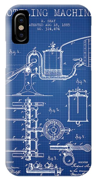 Brewery iPhone Case - 1885 Bottling Machine Patent - Blueprint by Aged Pixel