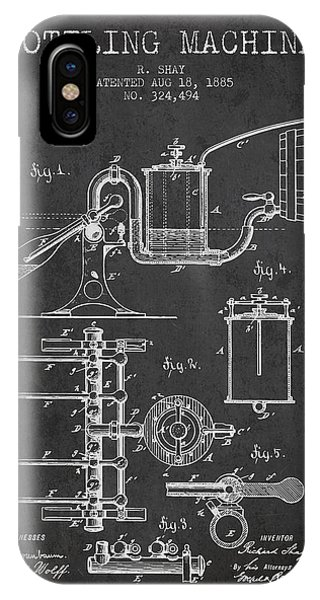 Brewery iPhone Case - 1885 Bottling Machine Patent - Charcoal by Aged Pixel