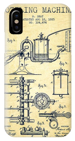 Brewery iPhone Case - 1885 Bottling Machine Patent - Vintage by Aged Pixel