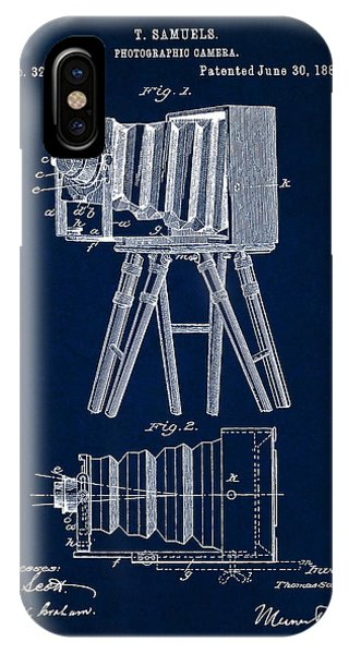 1885 Camera Us Patent Invention Drawing - Dark Blue IPhone Case