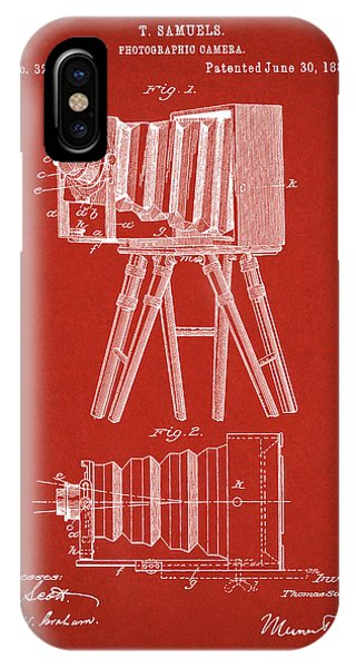 1885 Camera Us Patent Invention Drawing - Red IPhone Case