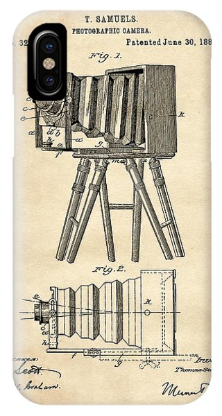 1885 Camera Us Patent Invention Drawing - Vintage Tan IPhone Case