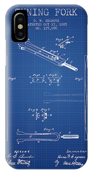 Fork iPhone Case - 1885 Tuning Fork Patent - Blueprint by Aged Pixel
