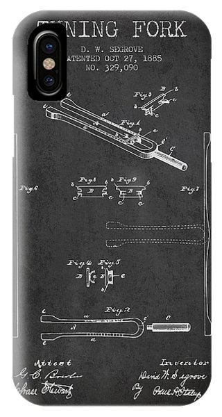 Fork iPhone Case - 1885 Tuning Fork Patent - Charcoal by Aged Pixel