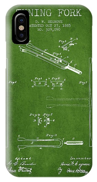 Fork iPhone Case - 1885 Tuning Fork Patent - Green by Aged Pixel