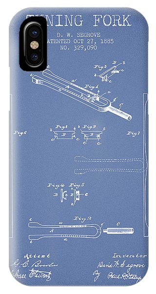 Fork iPhone Case - 1885 Tuning Fork Patent - Light Blue by Aged Pixel