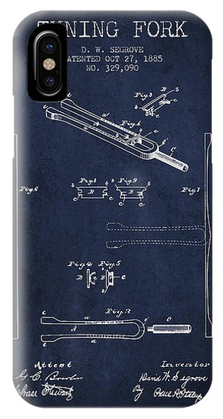 Fork iPhone Case - 1885 Tuning Fork Patent - Navy Blue by Aged Pixel