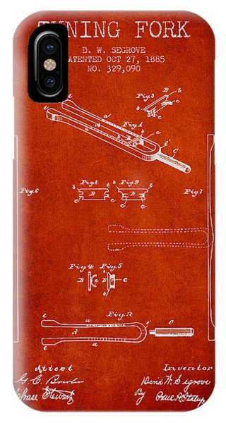 Fork iPhone Case - 1885 Tuning Fork Patent - Red by Aged Pixel