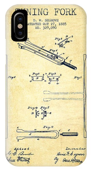 Fork iPhone Case - 1885 Tuning Fork Patent - Vintage by Aged Pixel