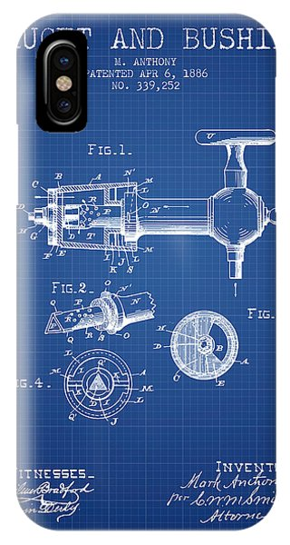Brewery iPhone Case - 1886 Faucet And Bushing Patent - Blueprint by Aged Pixel