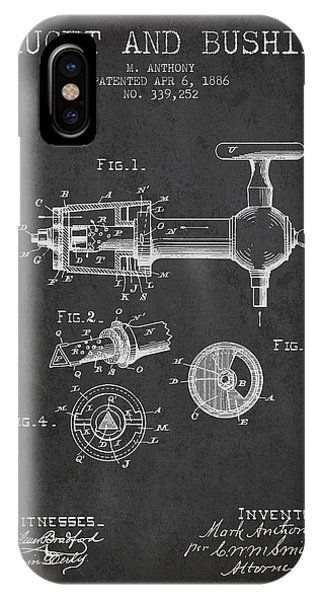 Brewery iPhone Case - 1886 Faucet And Bushing Patent - Charcoal by Aged Pixel
