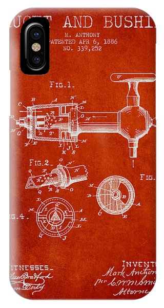 Brewery iPhone Case - 1886 Faucet And Bushing Patent - Red by Aged Pixel