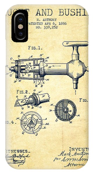 Brewery iPhone Case - 1886 Faucet And Bushing Patent - Vintage by Aged Pixel
