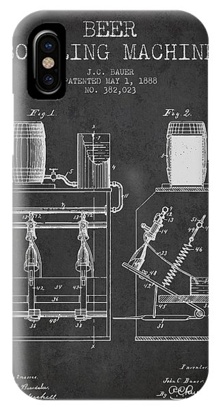 Brewery iPhone Case - 1888 Beer Bottling Machine Patent - Charcoal by Aged Pixel