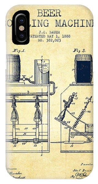 Brewery iPhone Case - 1888 Beer Bottling Machine Patent - Vintage by Aged Pixel