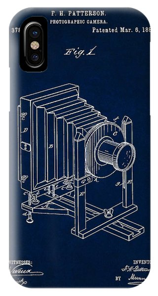 1888 Camera Us Patent Invention Drawing - Dark Blue IPhone Case