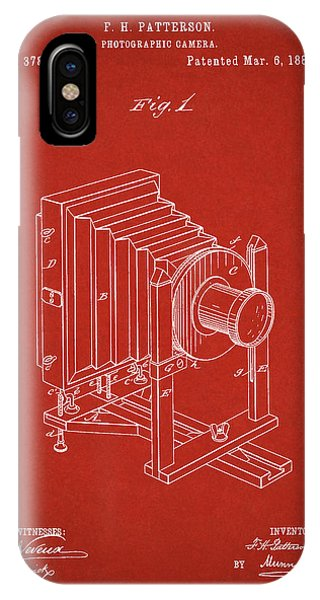 1888 Camera Us Patent Invention Drawing - Red IPhone Case
