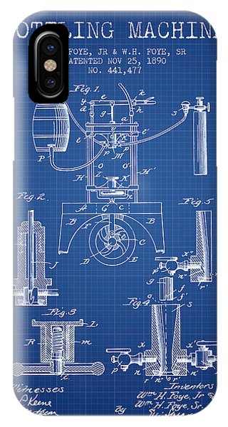 Brewery iPhone Case - 1890 Bottling Machine Patent - Blueprint by Aged Pixel
