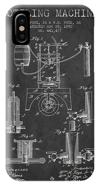 Brewery iPhone Case - 1890 Bottling Machine Patent - Charcoal by Aged Pixel
