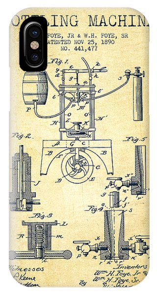 Brewery iPhone Case - 1890 Bottling Machine Patent - Vintage by Aged Pixel