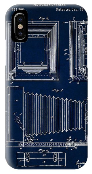 1891 Camera Us Patent Invention Drawing - Dark Blue IPhone Case