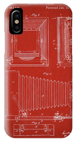 1891 Camera Us Patent Invention Drawing - Red IPhone Case