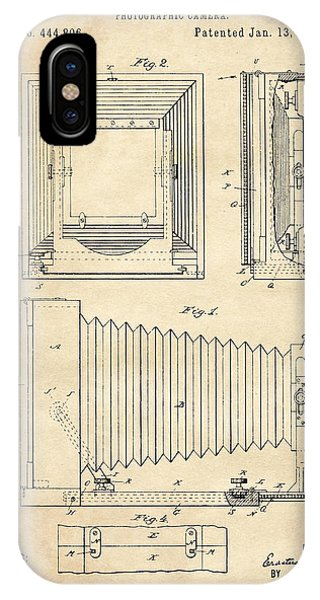 1891 Camera Us Patent Invention Drawing - Vintage Tan IPhone Case