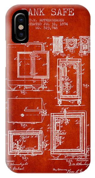 1894 Bank Safe Patent - Red IPhone Case