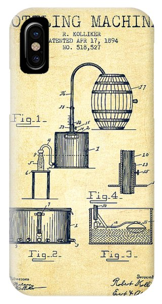 Brewery iPhone Case - 1894 Bottling Machine Patent - Vintage by Aged Pixel