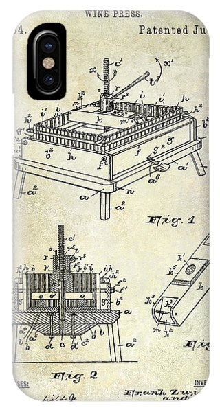 1894 Wine Press Patent IPhone Case