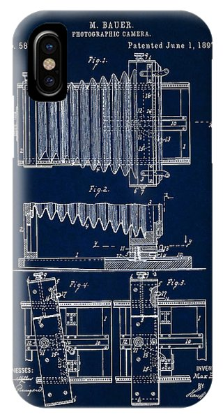 1897 Camera Us Patent Invention Drawing - Dark Blue IPhone Case