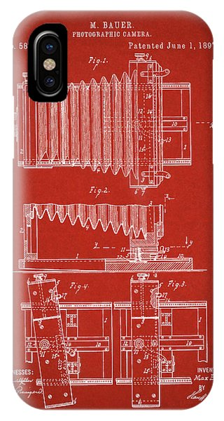 1897 Camera Us Patent Invention Drawing - Red IPhone Case