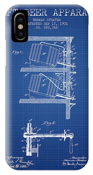 Brewery iPhone Case - 1901 Draft Beer Apparatus - Blueprint by Aged Pixel