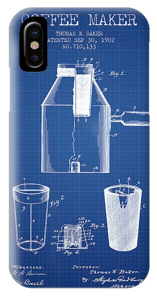 Coffee maker iphone cases fine art america 1902 coffee maker patent blueprint iphone case malvernweather Gallery