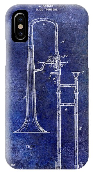 Trombone iPhone Case - 1902 Trombone Patent Blue by Jon Neidert