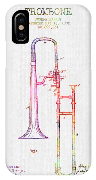 Trombone iPhone Case - 1902 Trombone Patent - Color by Aged Pixel
