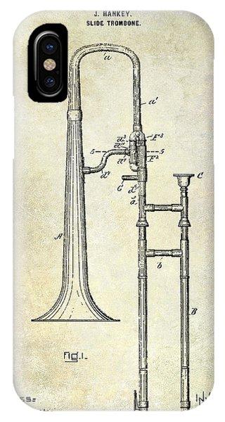 Trombone iPhone X Case - 1902 Trombone Patent by Jon Neidert