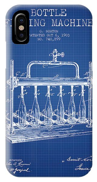 Brewery iPhone Case - 1903 Bottle Filling Machine Patent - Blueprint by Aged Pixel