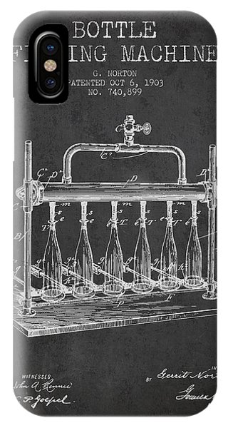 Brewery iPhone Case - 1903 Bottle Filling Machine Patent - Charcoal by Aged Pixel