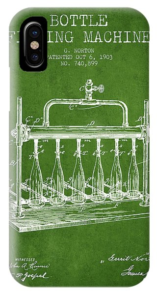 Brewery iPhone Case - 1903 Bottle Filling Machine Patent - Green by Aged Pixel