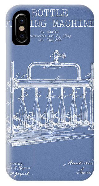 Brewery iPhone Case - 1903 Bottle Filling Machine Patent - Light Blue by Aged Pixel