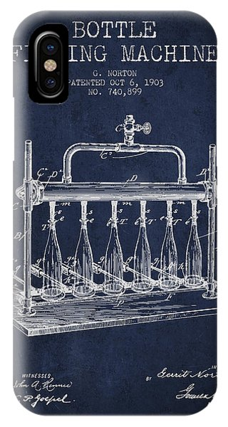Brewery iPhone Case - 1903 Bottle Filling Machine Patent - Navy Blue by Aged Pixel
