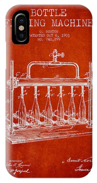 Brewery iPhone Case - 1903 Bottle Filling Machine Patent - Red by Aged Pixel