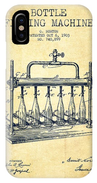 Brewery iPhone Case - 1903 Bottle Filling Machine Patent - Vintage by Aged Pixel