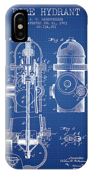 1903 Fire Hydrant Patent - Blueprint IPhone Case