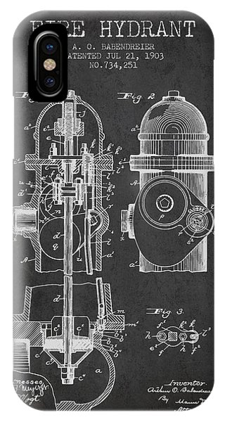 1903 Fire Hydrant Patent - Charcoal IPhone Case
