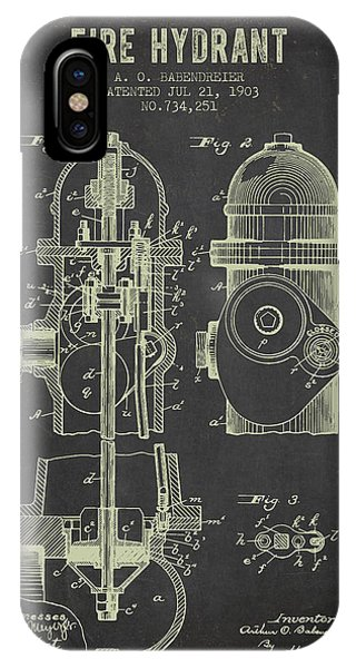 1903 Fire Hydrant Patent - Dark Grunge IPhone Case