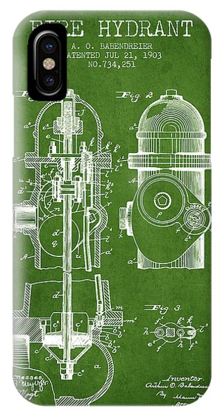 1903 Fire Hydrant Patent - Green IPhone Case