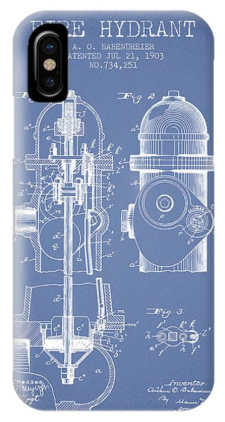 1903 Fire Hydrant Patent - Light Blue IPhone Case