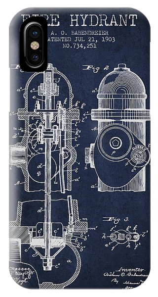 1903 Fire Hydrant Patent - Navy Blue IPhone Case